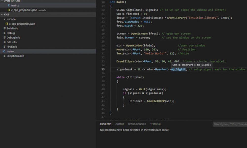 Working with Amiga C using Visual Studio Code